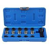 Kit de 16 piezas de reparación de rosca, M14 x 1,25 mm, profesional, herramientas para reparación de rosca, bujía con maletín azul