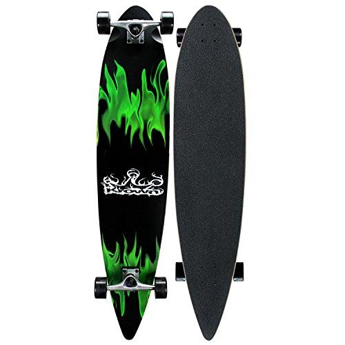 Krown Green Flame Complete Longboard Skateboard