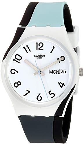 Swatch Unisex Erwachsene Analog Quarz Uhr mit Silikon Armband GW711