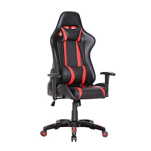 SVITA Gaming Stuhl Schreibtischstuhl Bürostuhl Drehstuhl Schreibtisch (Rot)