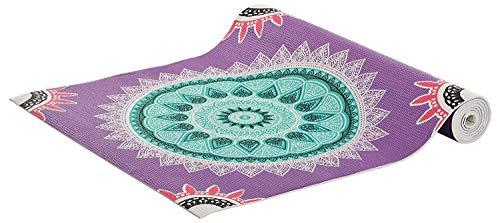 HOMEWARDS Purple Printed Indian Ethnic Design Yoga mat (5mm) for asana - 173cm x 61cm Along with Yoga Mat Bag with Strap (Purple)