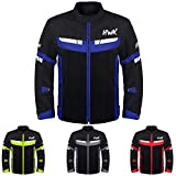 HWK Mesh Motorcycle Jacket Riding Air Motorbike Jacket Biker CE Armored Breathable (XXX-Large, Blue)