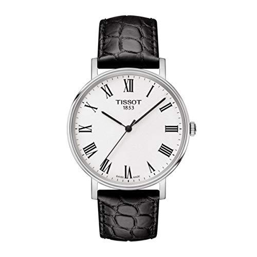 Tissot Herren Analog Quarz Everytime Medium Armbanduhr mit Leder Armband T1094101603301