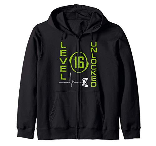 16th Gamers Birthday Funny Gamer Level 16 Unlocked Tee Shirt Zip Hoodie