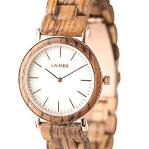 LAIMER Wood Watch Leona – Women's Wrist Watch Made of Zebrano Wood and a dial consisting of White Marble – Nature Lifestyle