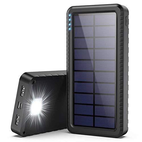Dyw Batterie Externe Solaire 26800mAh avec Entrée de Type C, Chargeur Solaire avec LED d'urgence...