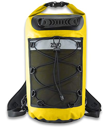 ZBRO Waterproof Dry Bag Backpack with Padded Straps and Mesh Pocket - Floating Dry Bags for Water Sports Travel Kayaking Boating Swimming Snorkeling - Dry Sack 20l 30l 40l for Kayak