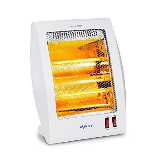 AVANT AV7554 - Estufa Eléctrica De Cuarzo con 2 Tubos, 800w con 2 Niveles De Potencia: 400 W - 800 W. Interruptor Antivuelco, Protección Térmica. Color Gris