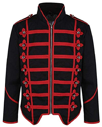 Ro Rox Steampunk Military Drummer Emo Punk Gothic Parade Jacket (Black & Red, M) (Apparel)