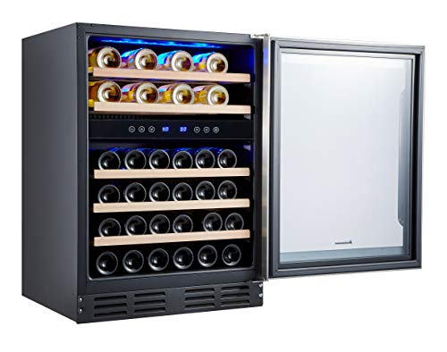 Kalamera 24'' Wine refrigerator 40 Bottle Dual Zone Built-in or Freestanding with Stainless Steel & Triple-Layer...