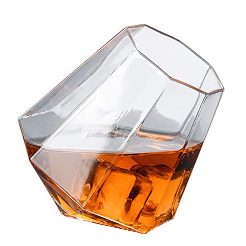 JAY-LONG 350ML Tumbler Whiskey Glass, Handcrafted Octagon Beer Scotch Brandy Red Wine Cups, for Whiskey Brandy Lovers, Bar, Party (6 Pack)