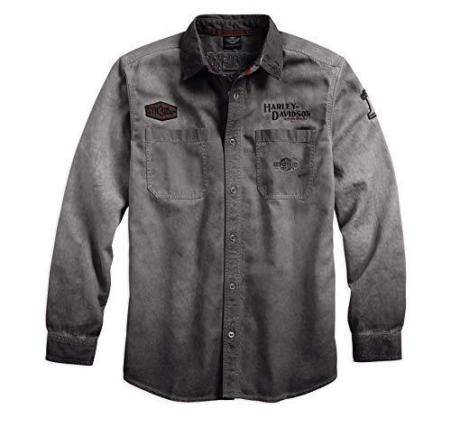 HARLEY-DAVIDSON Official Men's Iron Block Long-Sleeve Shirt, Grey (X-Large)