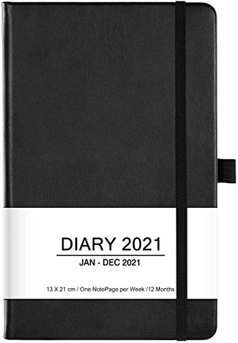 Terminkalender 2021-12 Monate Woche zum Anzeigen des Planer von Jan 2021 - Dez 2021, mit Stifthalter, Innentasche, Gummiband, Markierungsband, Bonus Aufklebern, Schwarz, 13 X 21 cm