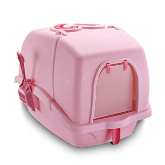 Cat-Litter-Box-Hooded-with-Litter-Scoop-Cat-Toilet-for-Large-Cat-Breeds-Space-Saver-Fits-in-Every-CornerPink