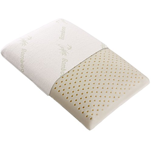 Cheer Collection Natural Latex Pillow Eco-Friendly Ventilated Foam Pillow with Washable Bamboo Cover