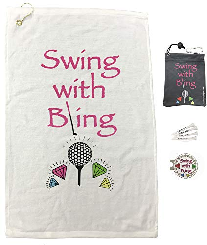 Giggle Golf Par 3 - Golf Towel, Tee Bag with 4 Tees, and Bling Ball Marker with Hat Clip - Perfect Golf Gift for Women (Swing with Bling)