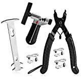 A AKRAF Bike Link Plier + Chain Breaker Splitter Tool + Chain Checker + 3 Pairs Bicycle Missing Links, Bike Link Opener Closer Plier Chain Cutter Connector Wear Indicator Tool (New Version)