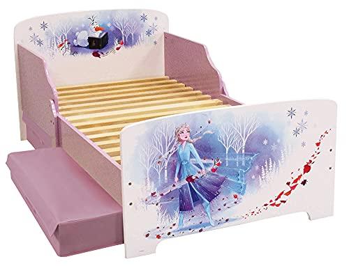 Fun House Disney Frozen Letto 140 x 70 cm con doghe con 2 cassetti portaoggetti per bambini, MDF, bianco