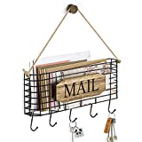 SRIWATANA Mail Holder, Rustic Mail Organizer Wall Mount Hanging Mail Sorter Letter Basket with 5 Key...