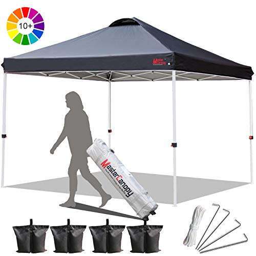 MASTERCANOPY Ez 10'x10' Pop up Canopy Commercial Instant Canopies with Better Air Circulation Canopy,A Wheeled Bag,Canopy Sandbags x4,Tent Stakesx4 Black