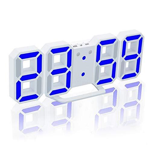 Galapara Reloj Despertador Digital 3D LED, USB Reloj de Pared, Reloj Digital, Temporizador, 3 Niveles de Brillo, Luz Nocturna Regulable, Función de Despertador para la Cocina