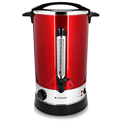 Navaris Pentola Bollitore 20l Vino Acqua - Dispenser Acqua Calda Vin Brul Caff - Distributore Elettrico Bevande Calde con Rubinetto - Rosso