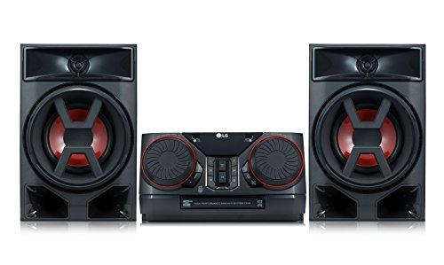 LG CK43 Mini HiFi System mit CD, Radio und USB Eingang Chrom/Schwarz/Rot