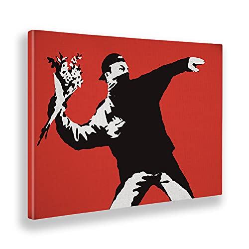 Giallobus Cuadro ya Enmarcado - Impresion en Lienzo - Banksy - Bombardero de Flores - Pinturas Modernas en Lienzo o plexiglás para decoración casa diseño - Dormitorio - Varios Tamaños XXL - 100x70 cm