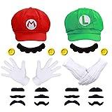 iZoeL Super Mario Luigi Chapeau Casquette 2 Pair Gants 14 Barbe 4 XXL Boutons...