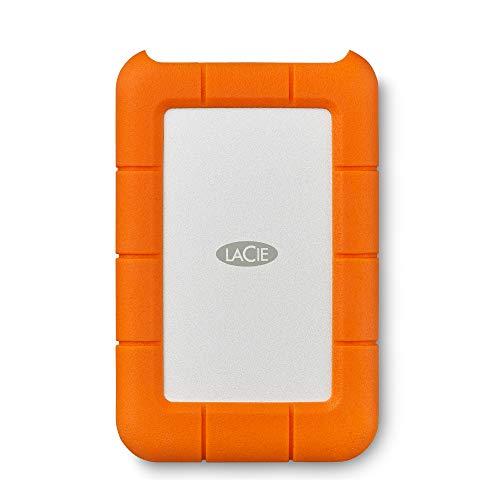 LaCie Rugged, USB-C, 2 TB, Disco duro externo, HDD portátil, USB 3.0, unidad resistente a caídas, golpes, polvo y lluvia, para Mac y PC, 2 años servicios Rescue (STFR2000800)
