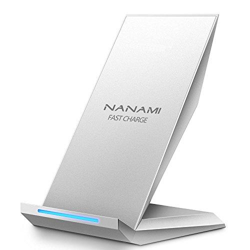 NANAMI Fast Wireless Charger, Qi Ladegerät für iPhone 11 / XS/XS Max/XR/X/ 8/8 Plus, kabelloses Induktive Ladestation Schnellladestation für Samsung Galaxy S10 S10e S9+ S8 Plus S7 Edge Note 9 usw