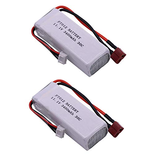XIXIML 11.1V high Capacity Lipo Battery for FT012 Huanqi 734 RC Boat RC Helicopter Toys Accessories 11.1V 3400mah T Plug Battery 30C 3S-2PCS