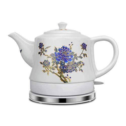 Keramik-Wasserkocher Automatische Abschaltung Schnell kochendes blaues und weißes Porzellan 1,2 l kocht Wasser schnell für Tee Kaffeesuppe Haferflocken (Pfingstrose) Farbwechsel, Wasserkocher