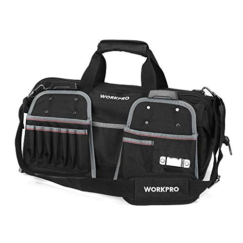 WORKPRO 18-Inch Heavy Duty Tool Bag with Tool Belt Pouches, Wide Mouth Tool Storage Bag with Molded Waterproof Bottom