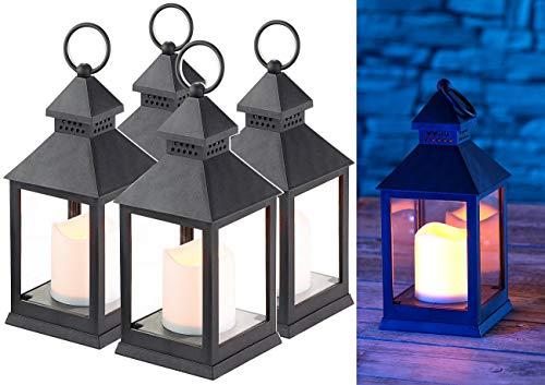Lunartec LED-Laterne Garten: 4er Pack Laterne mit flackernder LED-Kerze und Timer, Batteriebetrieb (Laterne mit LED Beleuchtung)