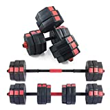 sogesfurniture One Pair of Adjustable Dumbbells 33, 33 with Connector, Iron Sand Mixture Octagonal Designed, Anti Rolling Fitness Dumbbells, Total 66 Lbs,BHUS-HSYL001-30-NEW