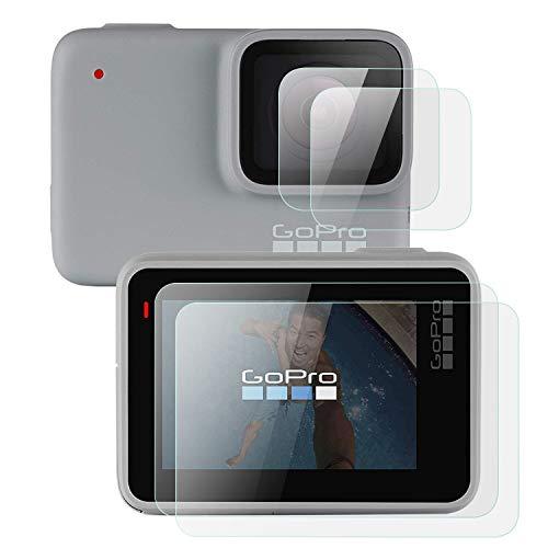 MWOOT 4 Pezzi Pellicole Protettive per GoPro Hero 7 White e GoPro Hero 7 Silver- Non per GoPro Hero 7 Black, Anti Graffi Vetro Temperato per Protezione dello Schermo