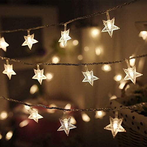 Twinkle Star 100 LED 49 FT Star String Lights, Plug in Fairy String Lights Waterproof, Extendable for Indoor, Outdoor, Ramadan, Wedding Party, Christmas Tree, New Year, Garden Decoration, Warm White
