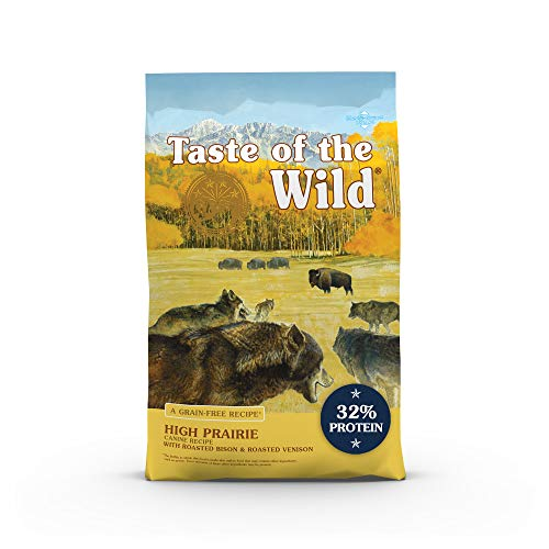 Taste of the Wild High Prairie Canine Grain-Free Recipe with Roasted Bison and Roasted Venison Adult Dry Dog Food, Made with High Protein from Real Meat and Guaranteed Nutrients and Probiotics 28lb