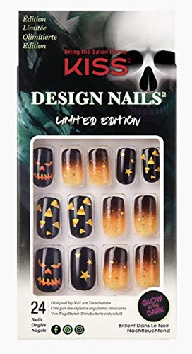 Kiss Design Nails Halloween Limited Edition Medium Length Glow-in-The-Dark Nails 83029 Monster Mash (Candy Corn Ombre)