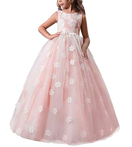 TTYAOVO Girls Pageant Princess Flower Dress Kids Prom Puffy Tulle Ball Gowns Size 8-9 Years Pink