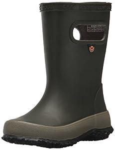 Bogs Kids' Skipper Waterproof Rubber Rain Boot for Boys and Girls,Solid Dark Green,4 M US Toddler