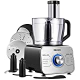 Decen Food Processor 12-Cup 600W Powerful Multi-Function with LED light, Safe lock, 3 Speeds 6 Main Functions with Chopper Blade, Dough Blade, Shredder, Slicing Attachments, Silver