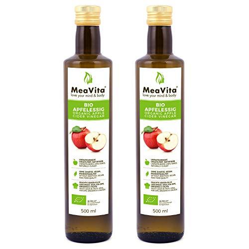 MeaVita Vinagre de Sidra Orgánico de Manzana, natural turbio y sin filtrar con nuez de...