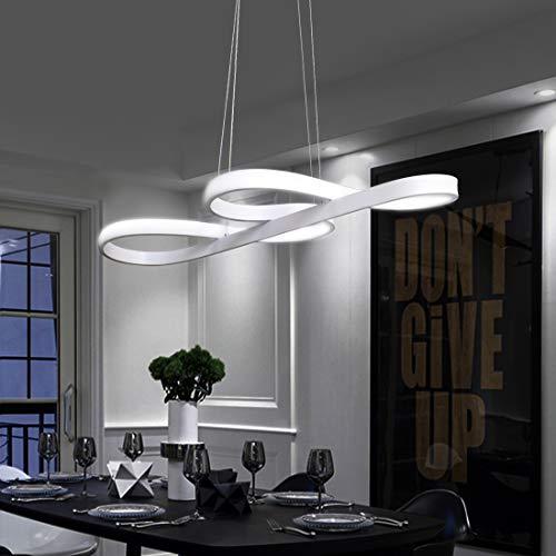 ZMH LED Pendelleuchte esstisch Pendelleuchte Weiß Hängeleuchte 48W Dimmbar mit Fernbedienung Hängelampe Arbeitszimmer, Wohnzimmer, Küche, Pendellampe Kronleuchte (Weiß) [Patentinhaber]