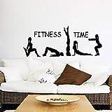 Tiempo de fitness deportes chica pegatinas de pared gimnasta yoga gimnasio apariencia