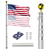 25FT Telescopic Flag Pole,Heavy Duty Extra Thick Aluminum Telescoping FlagPole Kit with 3×5 Flag ,Gold Ball on Top, Outdoor Inground Flag Pole for Residential,Yard,Garden or Commercial Use Fly 2×Flags