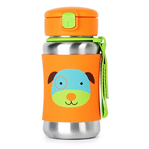 Skip Hop Kids Water Bottle With Straw, Stainless Steel Sippy Cup, Dog