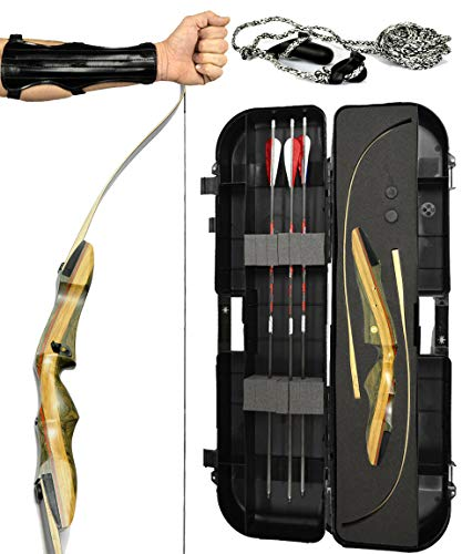 Spyder Takedown Recurve Bow - Ready 2 Shoot Archery Set   INCLUDES Bow, Instructions, Premium Carbon Arrows, Recurve Bow Case, Stringer Tool, Armguard, FREE GIFT   45 lb RH -red