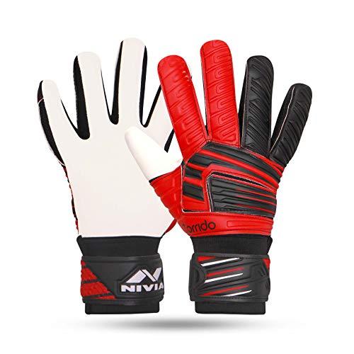 Nivia Raptor Torrido Football Gloves, (Black/Red, M)